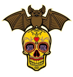 bat stand over the sugar skull vector image