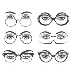 beautiful female eyes in glasses vector image