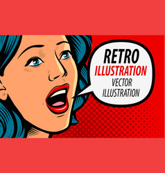 beautiful girl says retro comic pop art vector image