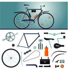 Bicycle constructor realistic bike and parts vector