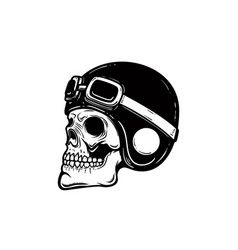 Biker skull in helmet isolated on white vector