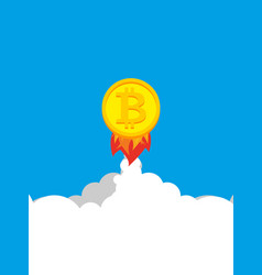 bitcoin rocket growth of price of crypto currency vector image