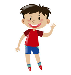 boy in red waving hand vector image