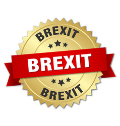 Brexit round isolated gold badge vector