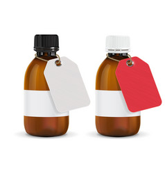 Brown plastic bottles with paper tag vector