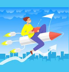 Businessman flying up rocket color vector