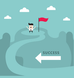 businessman on top of the mountain success goal vector image