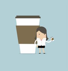 businesswoman has coffee break vector image