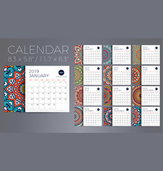 calendar 2019 with mandalas vector image