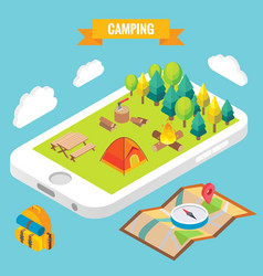 Camping in a park objects on mobile phone screen vector