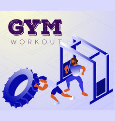 Cartoon men doing workout lesson in gym vector