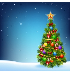 Cartoon of decorated Christmas tree vector