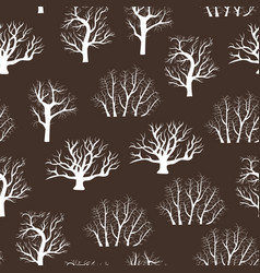 cartoon silhouette tree seamless pattern vector image