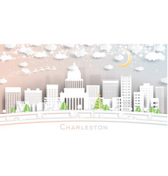 charleston west virginia usa city skyline in vector image