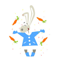 christmas rabbit and falling carrots flat vector image