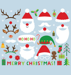 christmas set santa claus photo booth props vector image