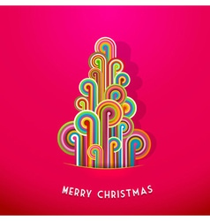 Christmas tree made from curled colorful lines vector