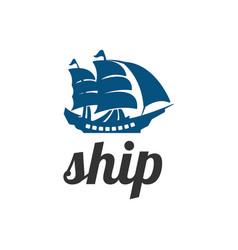 classic ship logo design inspiration vector image