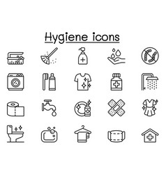 cleaning icon set in thin line style vector image
