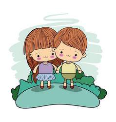 Color picture couple kawaii happy kids taken hands vector