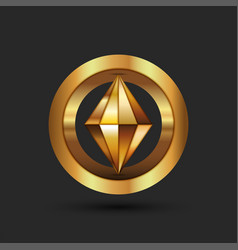 Cryptocurrency logo gold 3d geometric shape from vector
