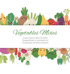 cute kawaii vegetables mix with broccoli carrot vector image