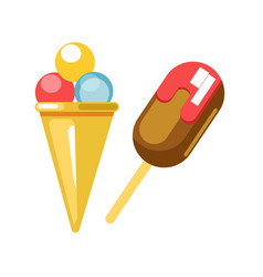 delicious ice cream in waffle cone and on stick vector image