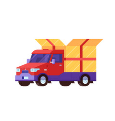 Delivery car with gift box package vector