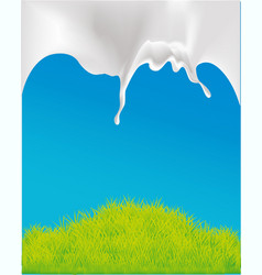 design with milk and green grass vector image