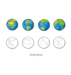 Earth Planet Hand Drawn Set vector image