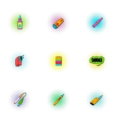 Electronic cigarette icons set pop-art style vector