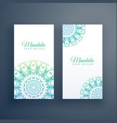 Elegant mandala white cards background vector