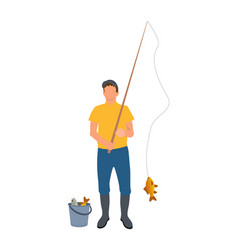 Fisherman with fisher-rod vector