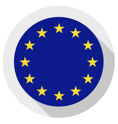 Flag european union round shape icon on white vector