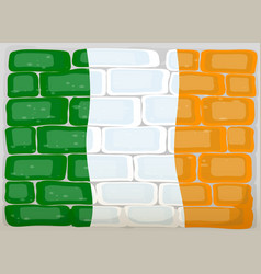 Flag ireland painted on wall vector