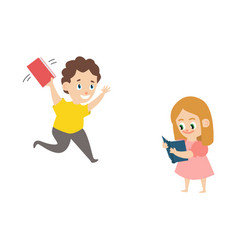 flat boy running with book girl reading vector image