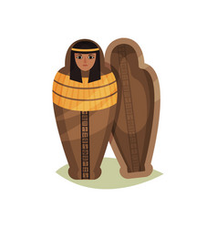 Flat icon of empty egyptian sarcophagus vector