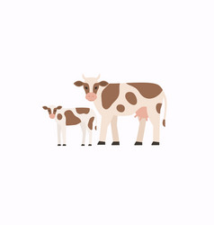 Flat style cow and calf vector