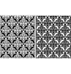 Floral damask seamless patterns vector image