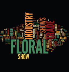 Floral trade shows text background word cloud vector