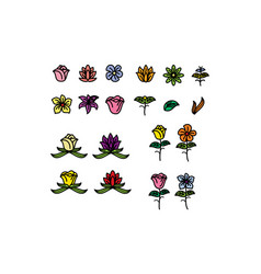 flower icon set color outline set of lotus flower vector image