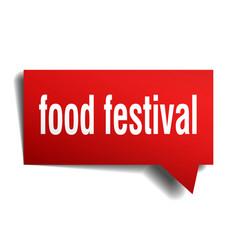 food festival red 3d speech bubble vector image