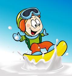funny boy cartoon surfing on milk splashing wave vector image