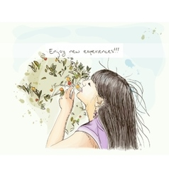 Girl enjoying nature eps10 vector