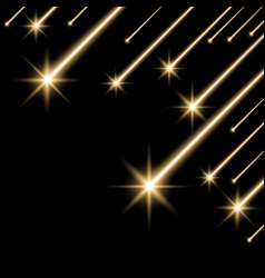 Glowing falling stars golden color vector