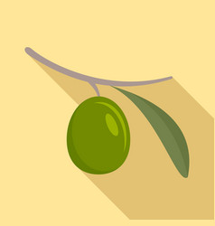 Green olive icon flat style vector