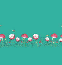 green poppies and bees seamless border repeat vector image