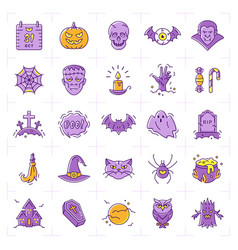 halloween icon set colorful icons thin vector image