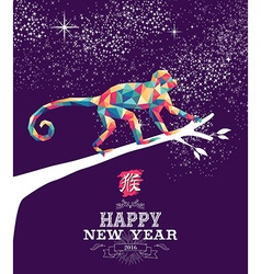 Happy chinese new year monkey 2016 triangle color vector