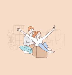 Happy cohabitation fun relocation concept vector